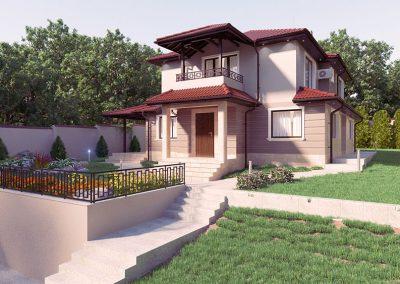 Екстериор на двуетажна къща с градина