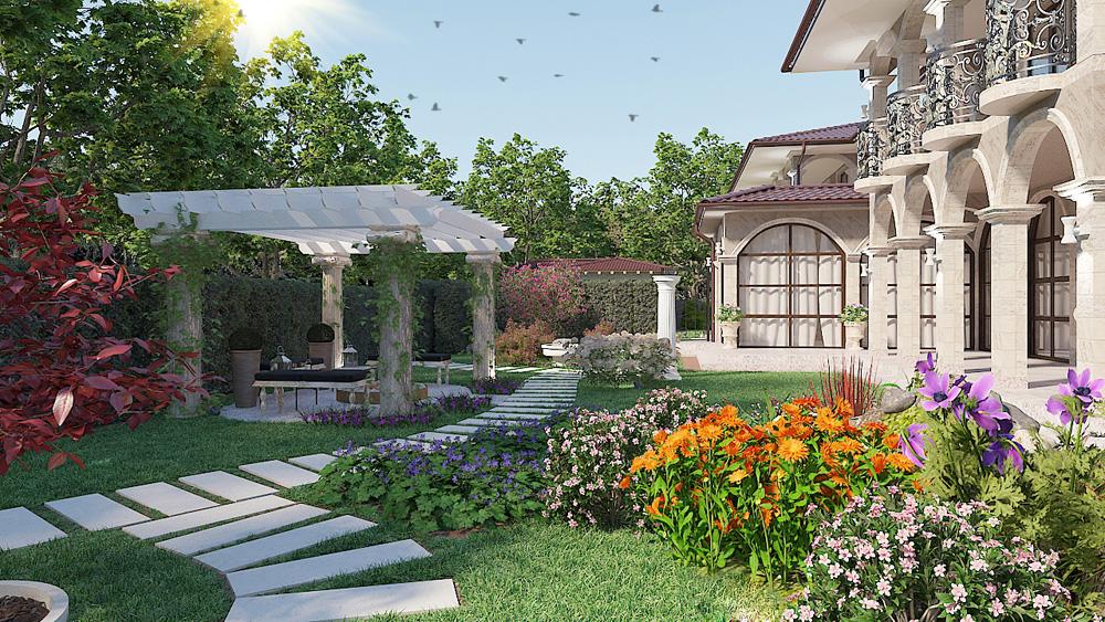 Ландшафтен проект на двуфамилна къща